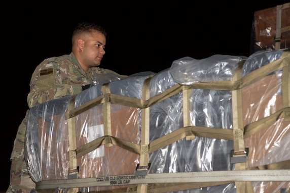 Senior Airman Cameron Hurst, 81st Logistics Readiness Squadron ground transportation specialist, conducts final checks on equipment at the 81st LRS compound on Keesler Air Force Base, Mississippi, September 4, 2019. Airmen from the 81st LRS palletized emergency medical equipment, such as blankets, litters and beds, and drove the gear more than 10 hours to MacDill Air Force Base, Florida, as part of the relief efforts for Hurricane Dorian. The 81st LRS worked with the 6th LRS at MacDill to get the equipment shipped through ground transportation instead of through airlift therefore saving delivery time to get the life-saving equipment to those in need. (Airman 1st Class Spencer Tobler)