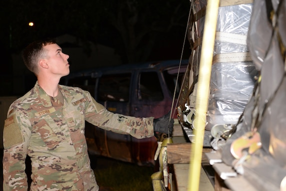 Senior Airman Trevor Stover, 81st Logistics Readiness Squadron ground transportation specialist, conducts final checks on equipment at the 81st LRS compound on Keesler Air Force Base, Mississippi, September 4, 2019. Airmen from the 81st LRS palletized emergency medical equipment, such as blankets, litters and beds, and drove the gear more than 10 hours to MacDill Air Force Base, Florida, as part of the relief efforts for Hurricane Dorian. The 81st LRS worked with the 6th LRS at MacDill to get the equipment shipped through ground transportation instead of through airlift therefore saving delivery time to get the life-saving equipment to those in need. (Airman 1st Class Spencer Tobler)