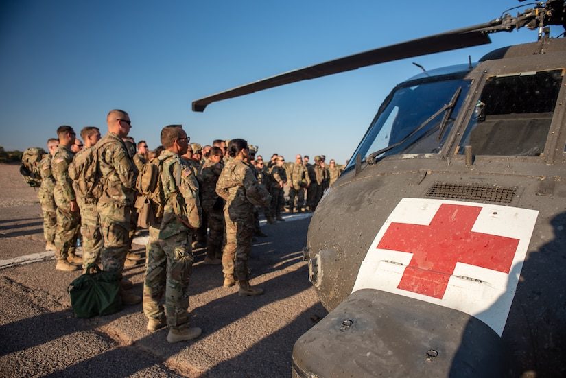 U.S. Army Combat Medic Soldiers in the 30th Armored Brigade Combat Team (ABCT),  conduct cold and hot load training on a MEDEVAC UH-60 Black Hawk helicopter from 5th Armored Brigade, First Army Division West, near Fort Bliss, Texas, September 3, 2019.