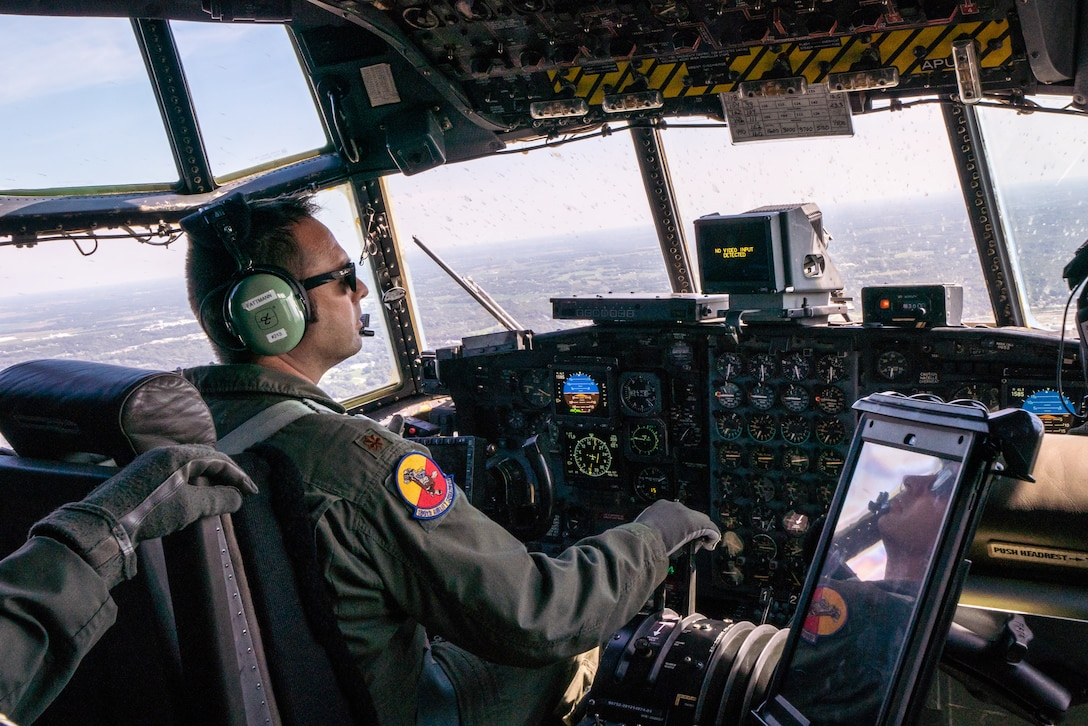 U.S. Air Force Maj. Ed Fattmann, a pilot assigned to the 180th Airlift Squadron, Missouri Air National Guard, takes his first flight as an aircraft commander with one eye, above St. Joseph, Missouri, Sept. 4, 2019. Fattman has been a pilot with the 180th AS since 2009, but was put on 'duty not including flying', status after losing sight in his right eye from a firework misfire in 2012. For his first flight back in military status, he flew with his original crew from his first deployment to Afghanistan in 2010. (U.S. Air National Guard photo by Tech. Sgt. Patrick Evenson)