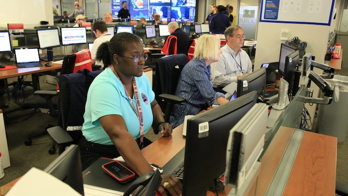 The National Response Coordination Center at FEMA in Washington D.C. is activated to respond to Hurricane Dorian.
