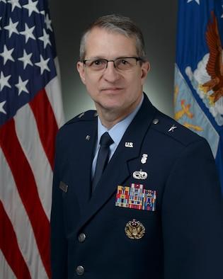 Official portrait -  Brig Gen John Bartrum BIO taken in the Air Force portrait studio, Jan. 24, 2019, Pentagon. (U.S. Air Force photo by Staff Sgt. Chad Trujillo)