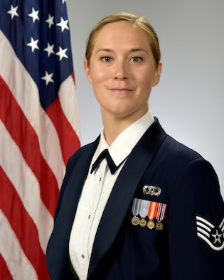 Official photo of SSgt. Katherine Stites, oboe with the Concert Band and the Academy Winds, two of nine ensembles in the United States Air Force Academy Band, Peterson Air Force Base, Colorado.