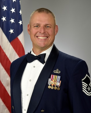 Official photo of MSgt. Karl Bradley, trombone with the Concert Band and Stellar Brass, two of nine ensembles in the United States Air Force Academy Band, Peterson Air Force Base, Colorado.