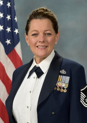 Official photo of MSgt. Julie Bradley, vocalist with the Concert Band and the Falconaires, two of nine ensembles in the United States Air Force Academy Band, Peterson Air Force Base, Colorado.