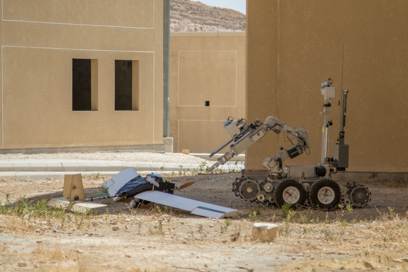 Jordan Armed Forces Explosive Ordnance Disposal robotics approach a notional downed unmanned aerial vehicle Sept. 2, 2019, at the King Abdullah II Special Operations Training Center in Amman, Jordan, during Exercise Eager Lion 19. Eager Lion, U.S. Central Command's largest and most complex exercise, is an opportunity to integrate forces in a multilateral environment, operate in realistic terrain and strengthen military-to-military relationships.