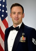 Official photo of SSgt.Craig Larimer, keyboardist with the Concert Band and Blue Steel, two of nine ensembles in the United States Air Force Academy Band, Peterson Air Force Base, Colorado.