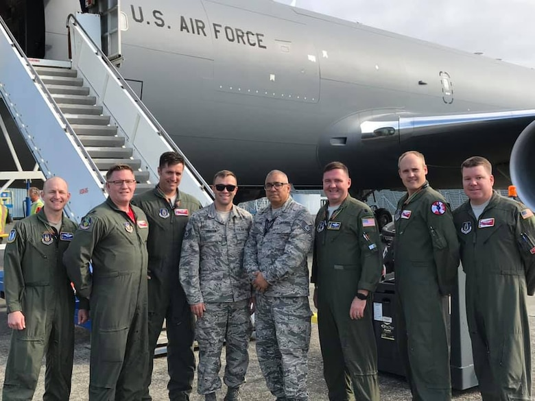 Members of the 931st Operations Group, consisting of members from the 924th Air Refueling Squadron and 18th Air Refueling Squadron, two of the Reserve flying squadrons at McConnell dedicated to the KC-46A Pegasus, pose for a photo after delivering the first two KC-46s to the Airmen of the 157th Air Refueling Wing at Pease Air National Guard Base, N.H.  The 157 ARW is the first Air National Guard Unit to receive the new refueler
