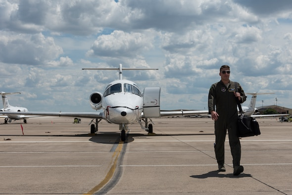 First Lt. Zachary Turek, 86th Flying Training Squadron instructor pilot, walks away from a T-1A Jayhawk, the trainer of the 86th FTS on Sept. 4, 2019 at Laughlin Air Force Base, Texas. As a first-time instructor pilot, he is already on track helping his students fly to new heights of success with a 92-percent checkride pass rate. This was no small task as it involved more than 40 hours of instructing 16 student sorties. (U.S. Air Force photo by Senior Airman Anne McCready)