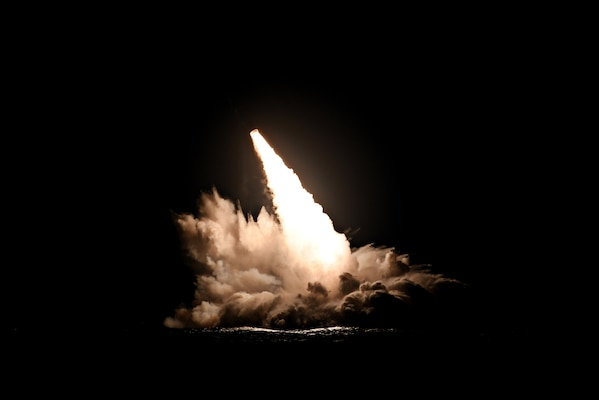 An unarmed Trident II D5 missile launches from the Ohio-class ballistic missile submarine USS Nebraska (SSBN 739) off the coast of San Diego, California, Sept. 4, 2019. The test launch was one of four conducted Sept. 4 and Sept. 6 as part of a U.S. Navy Commander Evaluation Test, validating performance expectations of the life-extended Trident II D5 strategic weapon system. These four launches mark 176 successful missile launches of the Trident II D5 strategic weapon system.