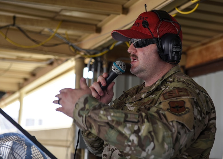Staff Sgt. Mitchell Coffey, 377th Security Forces Squadron combat arms instructor, performs a safety brief at Sheppard Air Force Base, Sept. 6, 2019. Strict weapon safety is a crucial part of handling weapons and its enforcement ensures the saefty of Airmen and those around them. (U.S. Air Force photo by Senior Airman Ilyana A. Escalona)