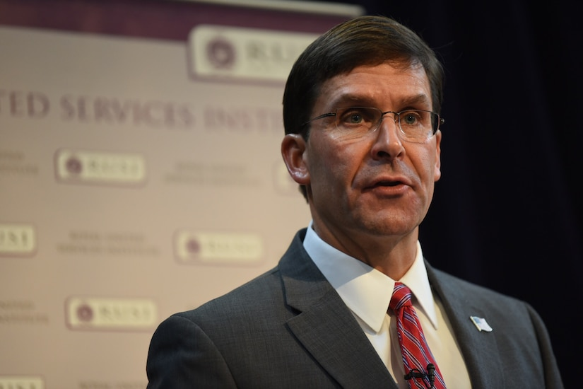 Defense Secretary Dr. Mark T. Esper speaks.