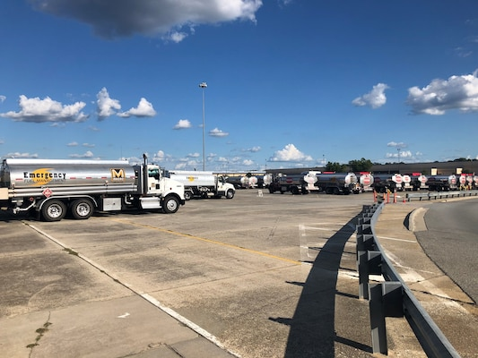 line of fuel trucks