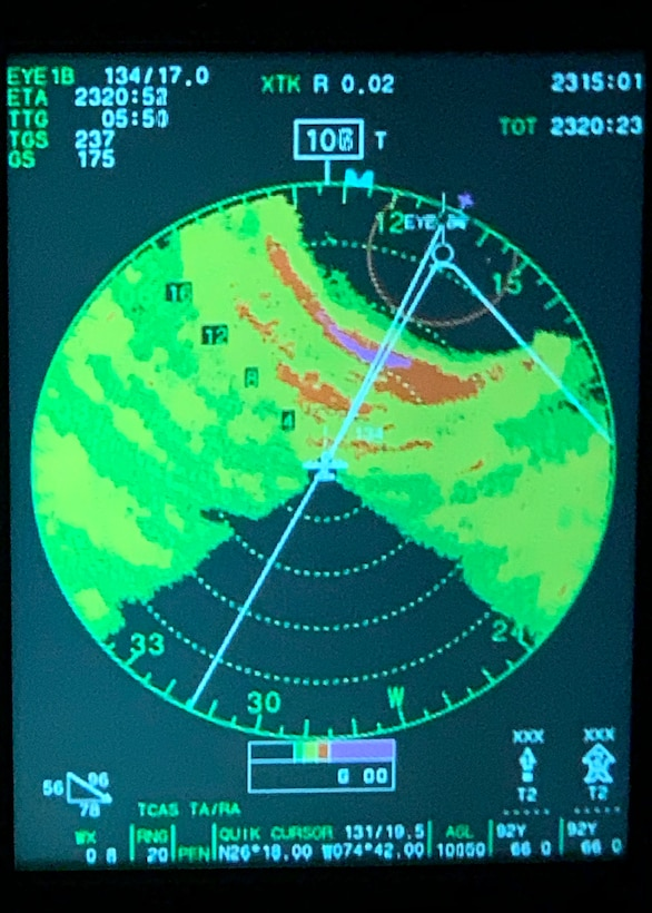 "The radar positioning of the 53rd Weather Reconnaissance Squadron's WC-130J Super Hercules aircraft on its way into Hurricane Dorian, Aug. 31, 2019 over the Atlantic Ocean. The Hurricane Hunters use radar, GPS, and various other instruments to track and find the center, aka ""eye,"" of a storm or hurricane. Although satellite imagery is an effective tool for tracking weather, it cannot collect data from within the storm environment, such as the Reserve Citizen Airmen of the 53rd WRS. (U.S. Air Force photo by Tech. Sgt. Christopher Carranza)"