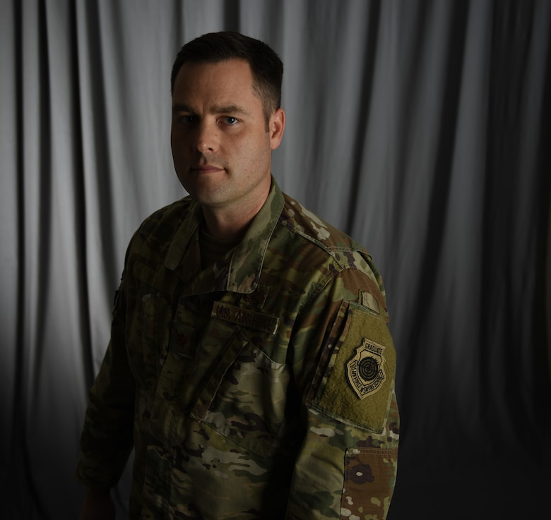 U.S. Air Force Maj. Ryan, a member of the 118th Wing, Tennessee Air National Guard, displays his Air Force Weapons School graduate patch Sept. 3, 2019 at Berry Field Air National Guard Base, Nashville, Tenn.
