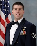 Official photo of SSgt. Craig Flentge, trombonist with the Concert Band and the Falconaires, two of nine ensembles in the United States Air Force Academy Band, Peterson Air Force Base, Colorado.