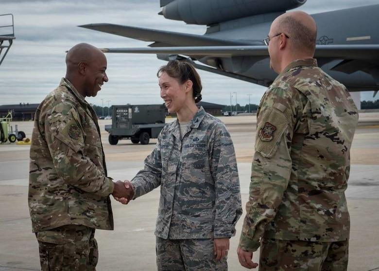 Col. Bridget Gigliotti, Joint Base McGuire-Dix-Lakehurst and 87th Air Base Wing commander, greets Chief Master Sergeant of the Air Force Kaleth O. Wright, Sept. 5, 2019 at Joint Base MDL, New Jersey. During his visit, Wright spoke with Airmen from the Combined Maintenance Operations Facility, 87th Security Forces Squadron, and the 621st Contingency Response Wing and held an All Call.