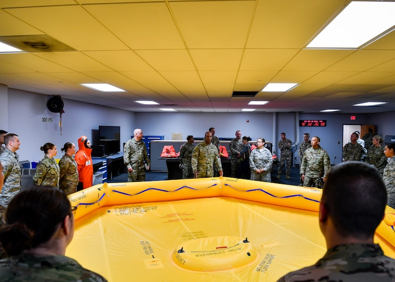 Chief Master Sergeant of the Air Force Kaleth O. Wright speaks with Airmen at the Combined Maintenance Operations Facility on Joint Base McGuire-Dix-Lakehurst, New Jersey, during a visit Sept. 5, 2019. During his visit, Wright spoke with Airmen from the CMOF, 87th Security Forces Squadron and the 621st Contingency Response Wing.