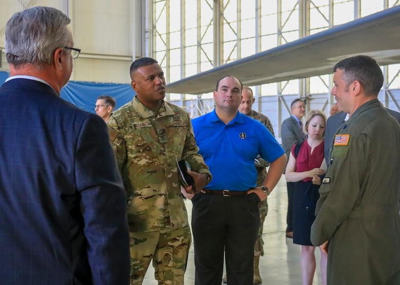 Program executives and managers are briefed on the potential added capabilities during a B-1B expanded carriage demonstration at Edwards Air Force Base, California, Aug. 28. (U.S. Air Force photo by Giancarlo Casem)