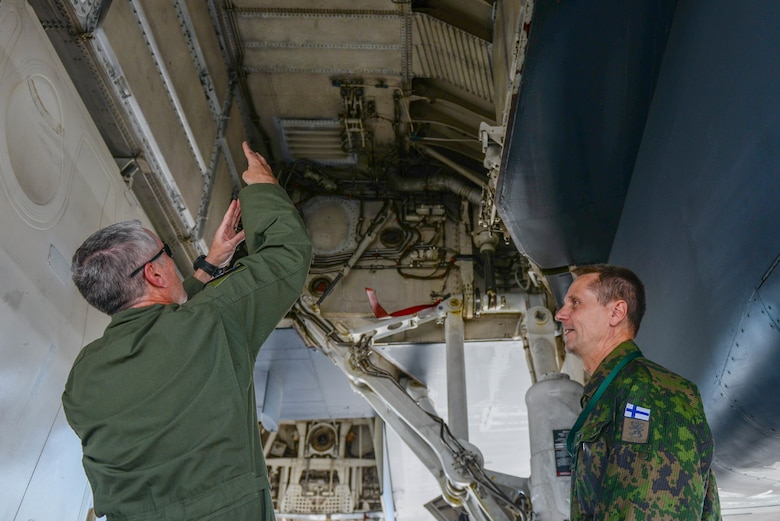 Col. R. Allen Barksdale, the 28th Operations Group commander, points out aspects of the B-1B Lancer to a visiting foreign defense attaché at Ellsworth Air Force Base, S.D., Sept. 4, 2019. Approximately 45 defense attachés from several different countries visited the base to learn more about the mission of the 28th Bomb Wing and the 89th Attack Squadron.  They toured statics of munitions; a B-1, assigned to the 37th Bomb Squadron; and a UH-72 Lakota, which was provided by the South Dakota National Guard. (U.S. Air Force photo by Tech. Sgt. Jette Carr)