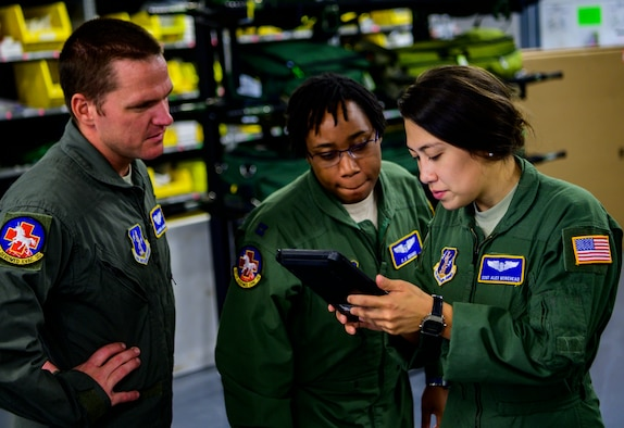Members of the 167th Aeromedical Evacuation Squadron perform medical equipment function checks prior to deploying in support of Hurricane Dorian relief at McLaughlin Air National Guard Base, Charleston, West Virginia, Sept. 5, 2019. The West Virginia Air National Guard will be providing a crew of six aeromedical evacuation technicians and flight nurses to assist with hurricane response efforts in affected areas throughout the United States and in the Bahamas. (U.S. Air National Guard photo by Master Sgt. De-Juan Haley)
