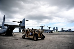 In support of Foreign Disaster Relief efforts in the Bahamas, a U.S. Air Force MRZR tactical vehicle is loaded onto a Marines Corps MV-22 Osprey at Homestead Air Reserve Base, Florida, Sept. 4, 2019. The MRZR will allow a joint airfield assessment team to rapidly evaluate the condition of airfields throughout The Bahamas. The Secretary of Defense authorized U.S. Northern Command to provide transportation logistics for the movement of USAID and third party humanitarian commodities and personnel throughout the region and to conduct assessments of critical transportation nodes to facilitate the delivery of humanitarian assistance and maximize the flow of disaster relief into the area.(U.S. Air Force photo by Tech. Sgt. Liliana Moreno)