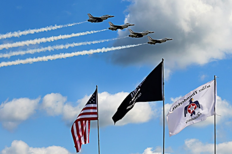 The U.S. Air Force Thunderbirds roar across the Indiana skies during the Grissom Air & Space Expo Sept. 7, 2019. The event drew thousands of spectators, and will continue Sept. 8, 2019 as gates open at 8:30 a.m. with flying starting around 11 a.m. and gates closing at 5 p.m. to the free event. (U.S. Air Force photo/Staff Sgt. Chris Massey)