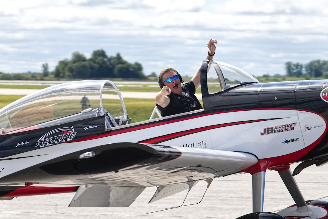 Billy Werth of the Redline aerial acrobatics team drives by the audience at the 2019 Grissom Air & Space Expo at Grissom Air Reserve Base, September 7, 2019. Grissom's first airshow in over 15 years drew an estimated crowd of over 50,000. (U.S. Air Force photo / A1C Harrison Withrow)