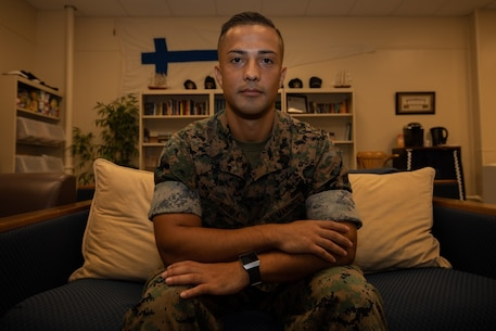 U.S. Marine Corps Staff Sgt. Richard Aguila poses for a photograph on Camp Kinser, Okinawa, Japan, August 30, 2019. Aguila, a native of Orange County, California, is a contract specialist with the Expeditionary Contracting Platoon, Combat Logistics Regiment 37, 3rd Marine Logistics Group. (U.S. Marine Corps photo by Lance Cpl. Carla E. O)