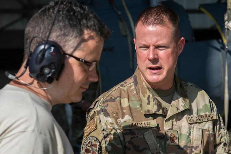 Chief Master Sgt. Charles Hoffman, command chief of Air Force Global Strike Command, visited the 307th Bomb Wing at Barksdale Air Force Base, Louisiana, Sept. 7, 2019. Hoffman spoke with Reserve Citizen Airmen from around the wing and was give the opportunity to familiarize himself with various facets of the wing's mission.