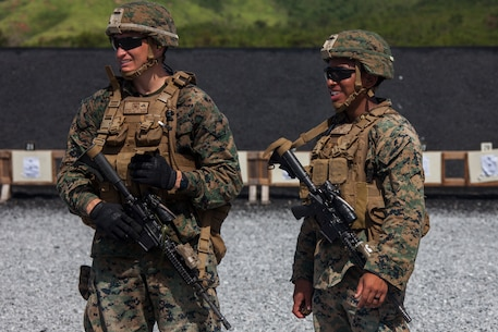 Marines with Weapons Company, Battalion Landing Team, 2nd Battalion, 1st Marines, 31st Marine Expeditionary Unit, prepare to battlesight zero their rifles at Camp Hansen, Okinawa, Japan, Aug. 29, 2019. The 31st MEU, the Marine Corps' only continuously forward-deployed MEU, provides a flexible and lethal force ready to perform a wide range of military operations as the premier crisis response force in the Indo-Pacific region. (Official Marine Corps photo by Cpl. Cameron Parks)