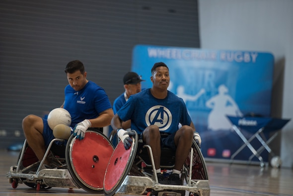 U.S. Air Force Senior Airman John Berry, Wounded Warrior ambassador, practices wheelchair rugby July 22, 2019, at Ramstein Air Base, Germany. This was the first time Air Force Wounded Warrior has been overseas.