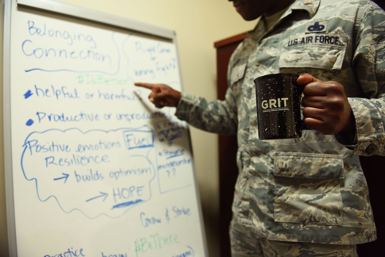 U.S. Air Force Maj. Lyndel Miller, 39th Air Base Wing Inspector General office director of complaints, reviews resiliency talking points Sept. 9, 2019, on Incirlik Air Base, Turkey. Incirlik Airmen are pushing forward with Operation GRIT, an initiative created by U.S. Air Forces in Europe-Air Forces Africa to improve military culture, create safer communities and develop productive Airmen. (U.S. Air Force photo by Staff Sgt. Joshua Magbanua)