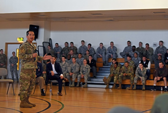 Colonel Troy Pananon, 100th Air Refueling Wing commander, addresses Airmen during a wing-wide all call addressing suicide awareness at RAF Mildenhall, England, Sept. 5, 2019. The all calls kicked off a wing-wide effort to take a Resilience Tactical Pause to address suicide awareness. (U.S. Air Force photo by Airman 1st Class Brandon Esau)