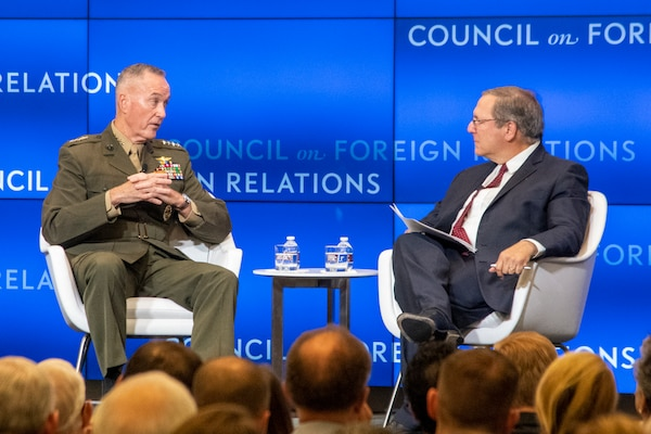 Marine Corps Gen. Joe Dunford, chairman of the Joint Chiefs of Staff, is interviewed by David Sanger during a speaking engagement for the Council on Foreign Relations at the CFR building in Washington, D.C., Sept. 5, 2019.