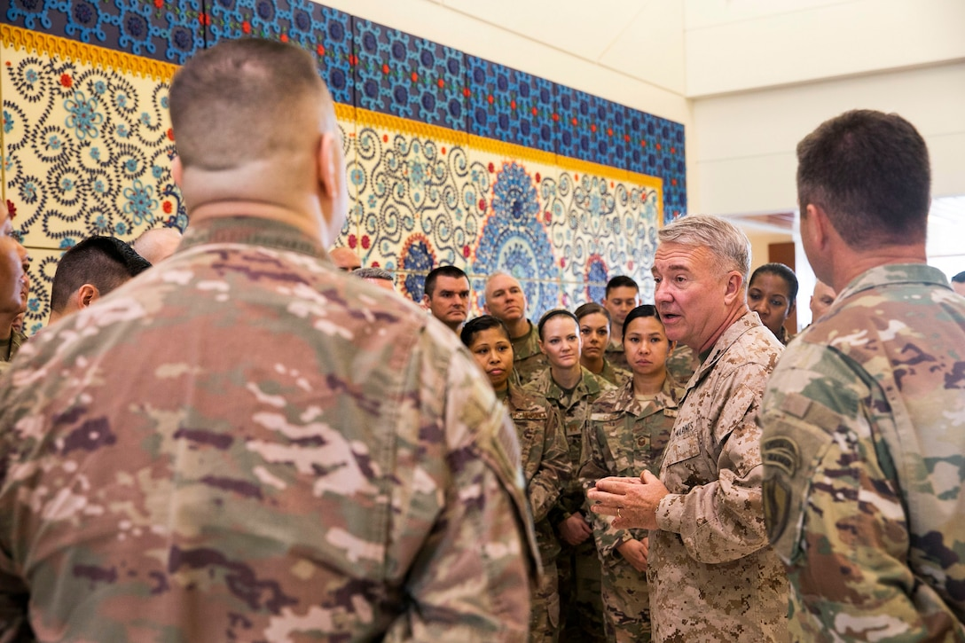 U.S. Marine Corps Gen. Kenneth F. McKenzie, the commander of U.S. Central Command, meets with U.S. military personnel attached to the Office of the Defense Representative to Pakistan, U.S. Embassy, Sept.8, 2019. (U.S. Marine Corps photo by Sgt. Roderick Jacquote)