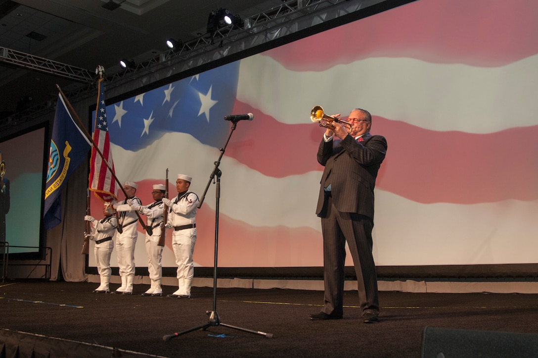 Arturo Sandoval, 10 time Grammy-award winner, belts out the national anthem during the opening ceremonies of the National Safety Council's 2019 Congress & Expo.