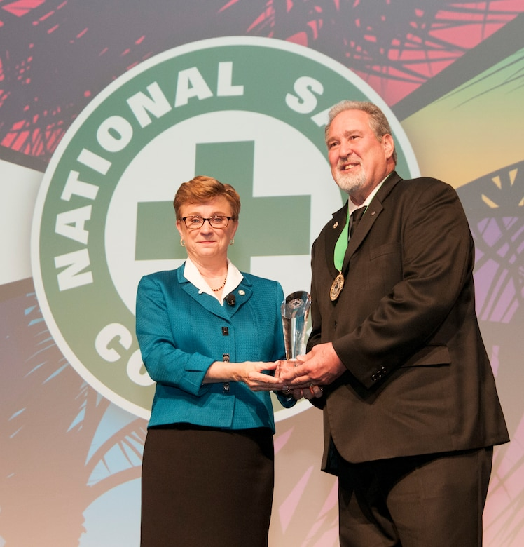 Michael Ballard, Air Force Safety Center's acting chief of operational safety division, received the National Safety Council's highest award, the Distinguished Service to Safety Award, Sept. 9 during the opening session of the NSC's 2019 Congress & Expo.