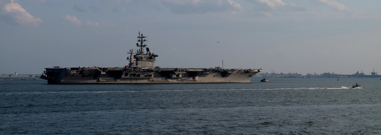 The Nimitz-class aircraft carrier USS Dwight D. Eisenhower (CVN 69) returns to its homeport of Norfolk, Va. after being sent to sea to avoid the effects of Hurricane Dorian.