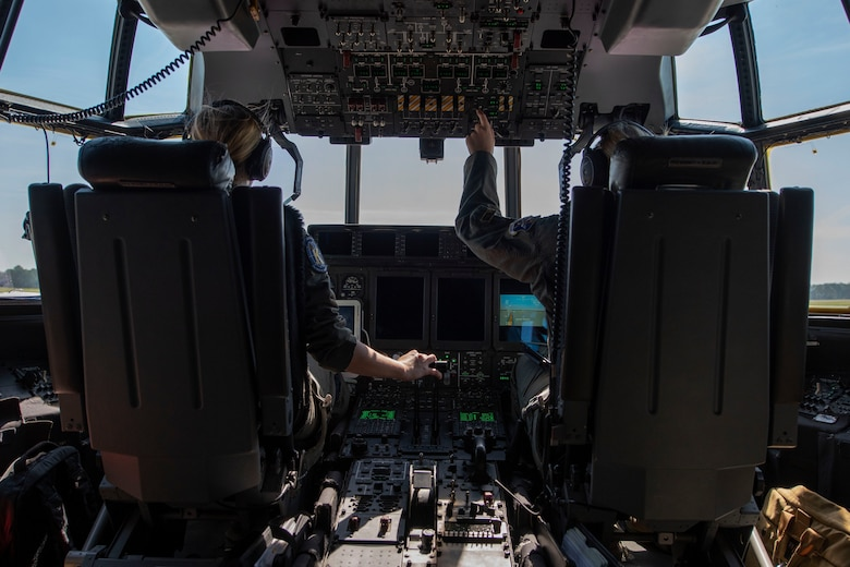 Capt. Leslie Weisz, 71st Rescue Squadron (RQS) pilot, initiates takeoff in an HC-130J Combat King II during the airframe's first flight to be operated by an all-female aircrew Sept. 6, 2019, at Moody Air Force Base, Ga. The 71st RQS provides rapidly deployable, expeditionary personnel recovery forces for theater commanders for contingency and crisis response operations worldwide. (U.S. Air Force photo by 2nd Lt. Kaylin P. Hankerson)