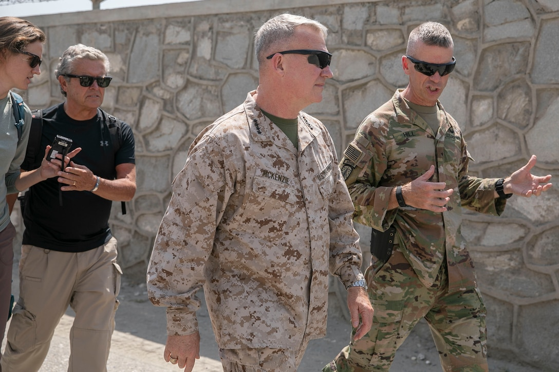 U.S. Army Brig. Gen. Donn H. Hill, right, the commander of Train Advise Assist Command – East, speaks with U.S. Marine Corps Gen. Kenneth F. McKenzie, center, the commander of U.S. Central Command, during McKenzie's visit in Jalalabad, Afghanistan, Sept. 9, 2019. (U.S. Marine Corps photo by Sgt. Roderick Jacquote)
