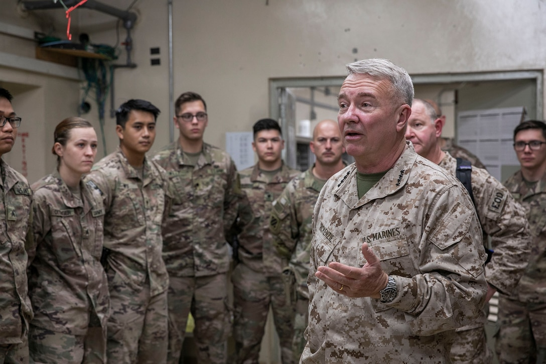 U.S. Marine Corps Gen. Kenneth F. McKenzie, the commander of U.S. Central Command, speaks to U.S. Soldiers assigned to Train Advise Assist Command – East during his visit in Jalalabad, Afghanistan, Sept. 9, 2019. (U.S. Marine Corps photo by Sgt. Roderick Jacquote)