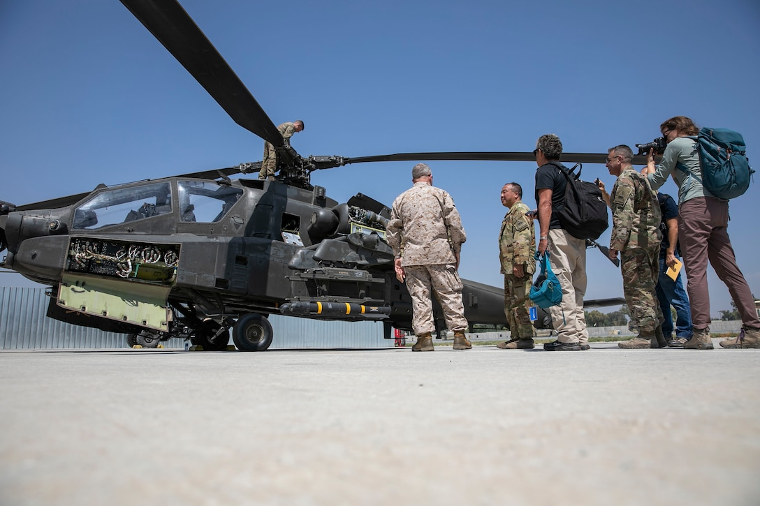 U.S. Marine Corps Gen. Kenneth F. McKenzie, center, the commander of U.S. Central Command, visits U.S. Soldiers assigned to Train Advise Assist Command – East at Jalalabad Airfield, Afghanistan, Sept. 9, 2019. (U.S. Marine Corps photo by Sgt. Roderick Jacquote)