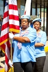 Members of National Women Veterans United present the colors at the dedication ceremony for the Sgt. Simone A. Robinson Women Veteran's Center on Sept. 7