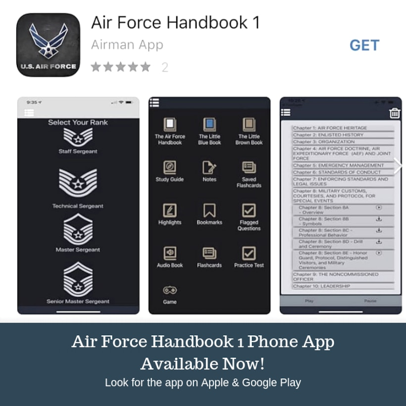 "The Air Force Handbook 1 phone application, available beginning Sept. 6, 2019, on both Apple and Google Play, includes the AFH1 and a study guide, as well as Air Force Instruction 36-2618, The Enlisted Force Structure, known as the ""The Little Brown Book.""  There is also access to the ""The Little Blue Book"" focused on the profession of arms, as well as tools such as flash cards, audio and practice tests designed to help prepare Airmen for promotion testing. (U.S. Air Force graphic/Dan Hawkins)"