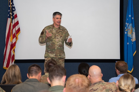 Col. Jason Lamb, Air Education and Training Command Director of Intelligence, Analysis, and Innovation, speaks with the latest graduates of Air University's Leadership Development Course for Squadron Command, Aug. 29, 2019, on Maxwell Air Force Base, Alabama. This eight day course, developed in response to the Chief of Staff of the Air Force, Gen. David Goldfein, priority of revitalizing the squadron aims to develop officers and civilians approaching positions of command.