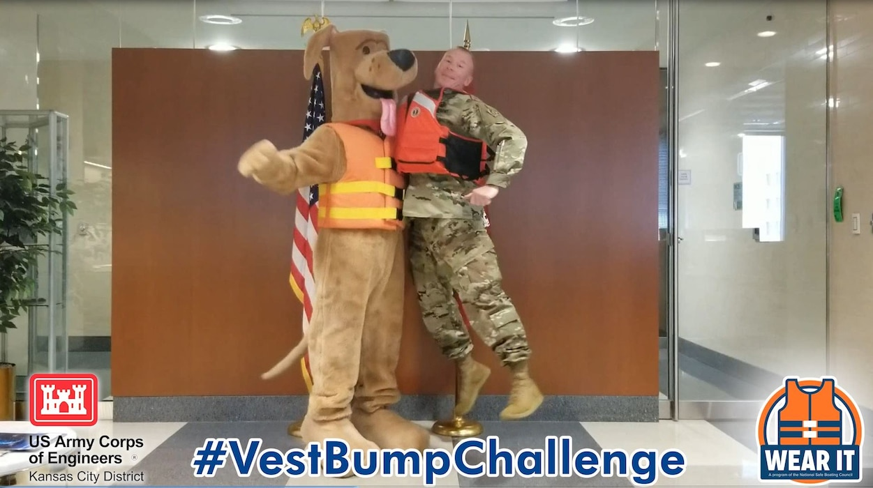 Please Wear It is asking visitors nationwide to take part in their #VestBumpChallenge. We captured our District Commander, Col. Hannan, with Bobber the Water Safety Dog taking the challenge! Watch the video below.