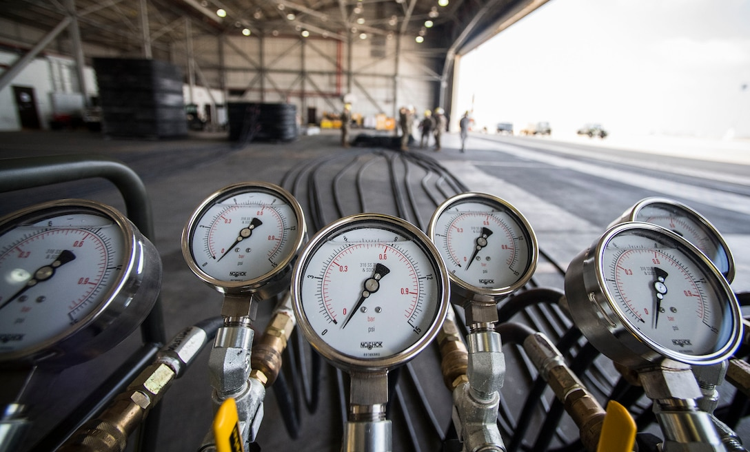 A pneumatic manifold is seen prior to a demonstration during an immersion tour Sept. 5, 2019, at Incirlik Air Base, Turkey. The manifold control console is used to control and monitor inflation of the 15-and-26 ton airbags. (U.S. Air Force photo by Staff Sgt. Ceaira Tinsley)