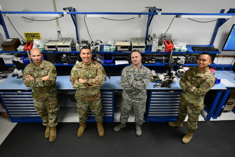 Airmen from the 31st Maintenance Group Air Force Repair Enhancement Program in their workspace, Sep. 9, 2019, at Aviano Air Base, Italy. AFREP technicians have the expertise and jurisdiction to repair a variety of the 31st Fight Wing's damaged items in an effort to save the wing and the U.S. Air Force money. (U.S. Air Force photo by Senior Airman Kevin Sommer Giron)