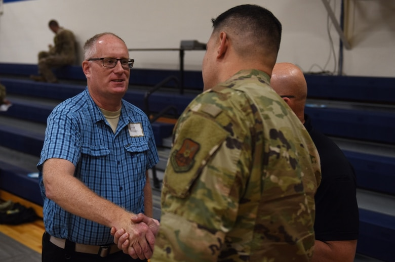 Lt. Col. Alan Haedge, 341st Communications Squadron commander, speaks with an Air Force Global Strike Command representative during a Local Integrated Response Plan exercise Aug. 26, 2019, at Augusta, Mont. The LIRP exercise provides a training opportunity for experts from the 341st Missile Wing and multiple federal, state, local and tribal agencies to practice contingency checklists and procedures in response to a simulated incident. (U.S. Air Force photo by Airman 1st Class Jacob M. Thompson)